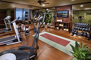 A Gym We Should All Aspire To Attain One Day. True Home Gym Emporium With Treadmills, Dumbbells Set, And Even Clean Towels.