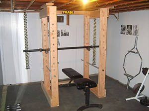 Diy Garage Gym Concept. Wooden Power Rack That Is Just As Good If Not Better Than The Metal Manufactuerd Ones.