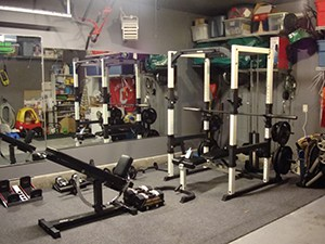 Fun Packed Garage Gym, All The Family Stuff Is Tucked Away And The Gym Machines Are Out To Play,