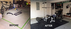 Home Gym Before And After The Garage Was Redone With The Bench Press And Power Rack With Free Weights Addition.