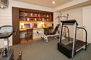 Study And Workout In This Comfy Looking Home Gym. Nothing Too Crazy Just Soe Cardio And An Bench Press Machine Set.
