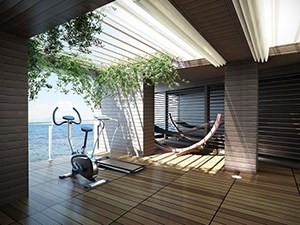 This Home Gym Is Like No Other, The Scenic View Will Have You Cruising On The Treadmill And Enjoying Life.