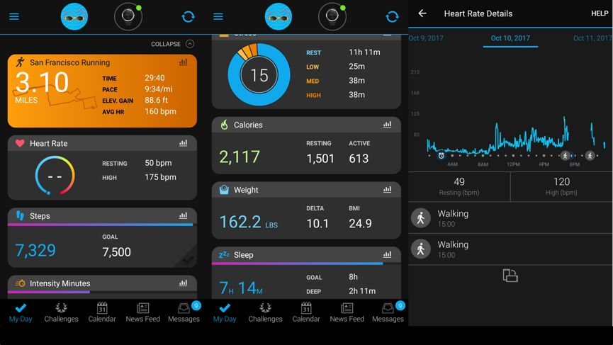 garmin connect displays data about vivoactive 3 usage